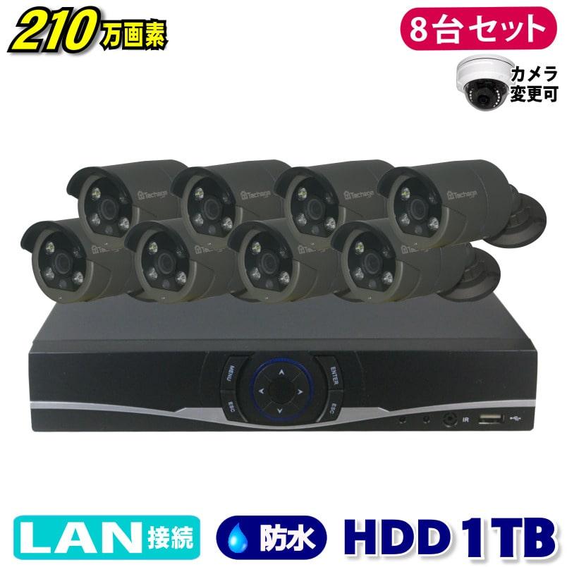 防犯カメラ 210万画素 8CH NVRレコーダーSONY製 Poe IPカメラ8台セット (LAN接続)HDD1TB 1080P フルHD 高画質 監視カメラ 屋外 屋内 赤外線3.6mmレンズ