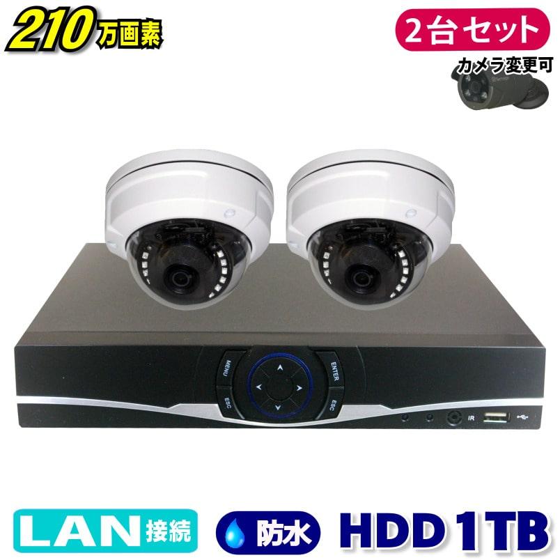 防犯カメラ 210万画素 4CH NVR レコーダー SONY製 ドーム型 IPカメラ 2台セット (LAN接続)HDD 1TB 1080P フルHD 高画質 監視カメラ 屋外 屋内 赤外線 夜間撮影 3.6mmレンズ