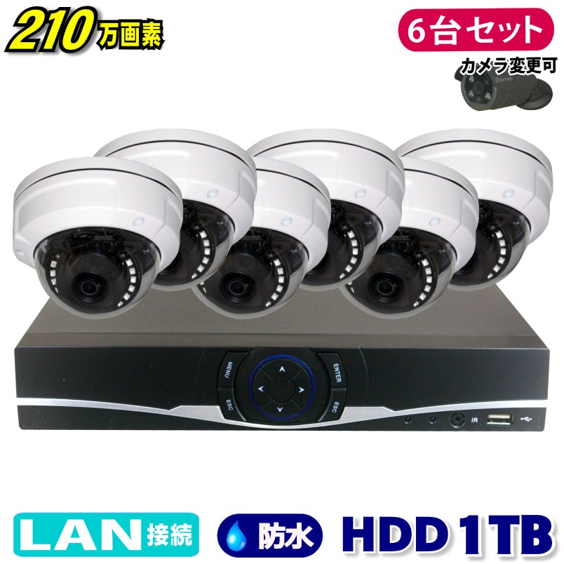 防犯カメラ 210万画素 8CH NVR レコーダー SONY製 ドーム型 IPカメラ 6台セット (LAN接続)HDD 1TB 1080P フルHD 高画質 監視カメラ 屋外 屋内 赤外線 夜間撮影 3.6mmレンズ