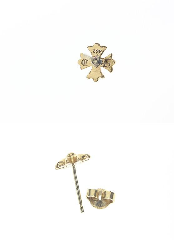 Chromic Hertz /CHROME HEARTS 22KCH positive stud bolt gold pierced earrings (gold /1.3g)bb15#rinkan*B