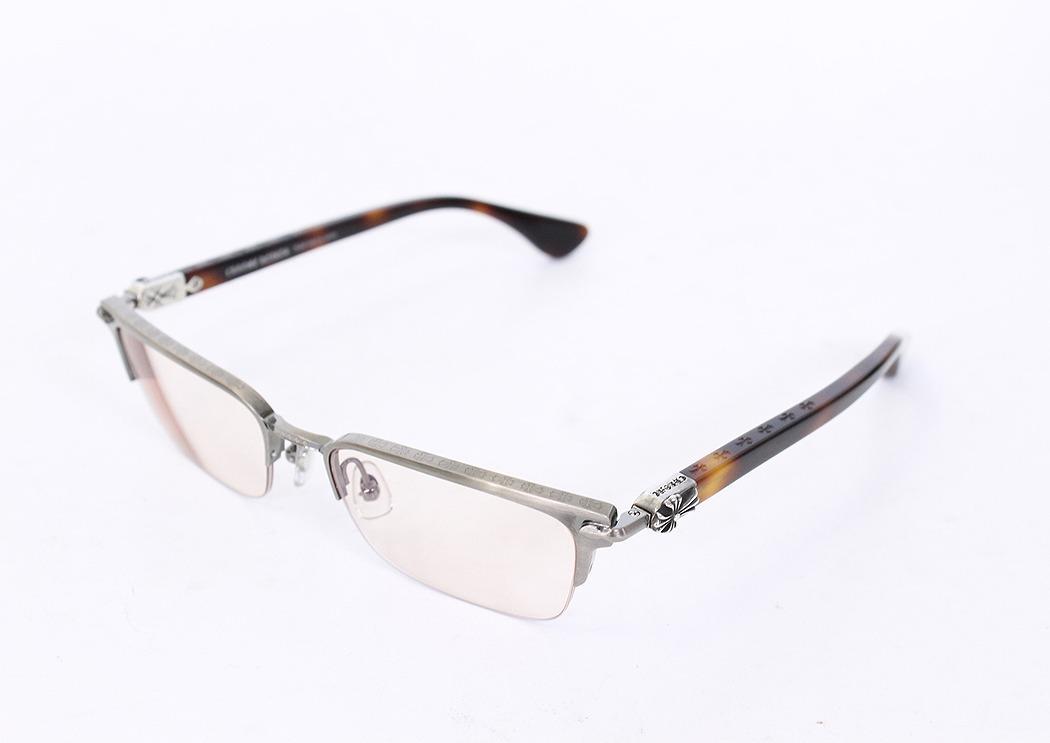 Chrome hearts /Chrome Hearts side cemetary CH cross eyeglasses eyewear (frame brown tone x clear Silver (lens)) bb35 #rinkan * A