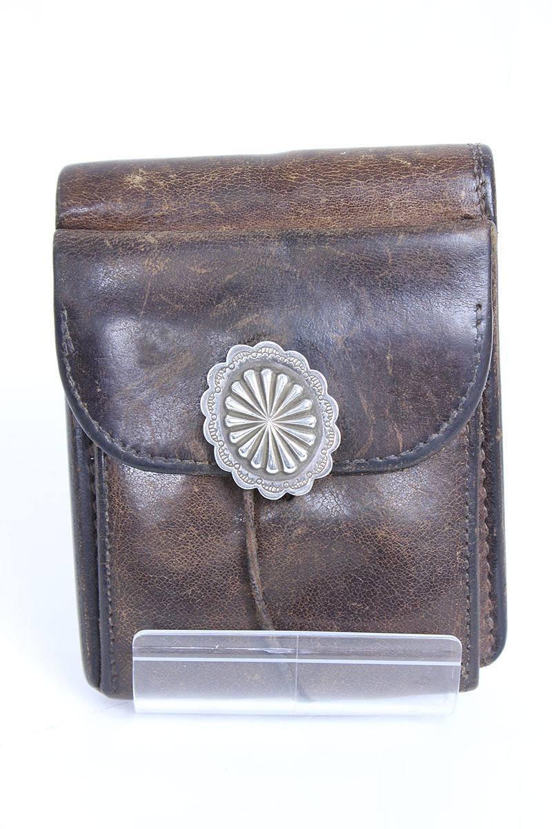 ゴローズ/goro's フラワーコンチョ付きレザー二つ折り財布(ブラウン×シルバー)【HJ08】【小物】【702151】【中古】【P】bb26#rinkan*C