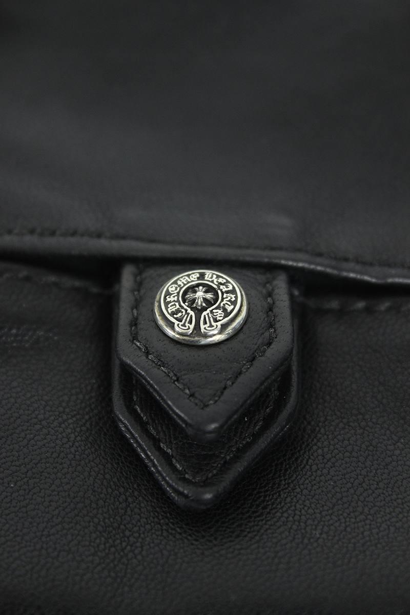 铬赫茨/Chrome Hearts马蹄铁按钮皮革手巾纸情况(黑色)bb09#rinkan*B