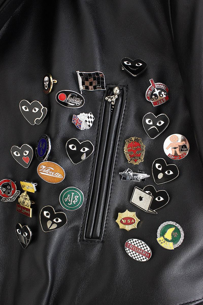 201a71f645f4 コムデギャルソン  COMME des GARCONS X Lewis leather Christmas-limited pin batch  decoration riders leatherette jacket (36  black-like) bb13 rinkan A