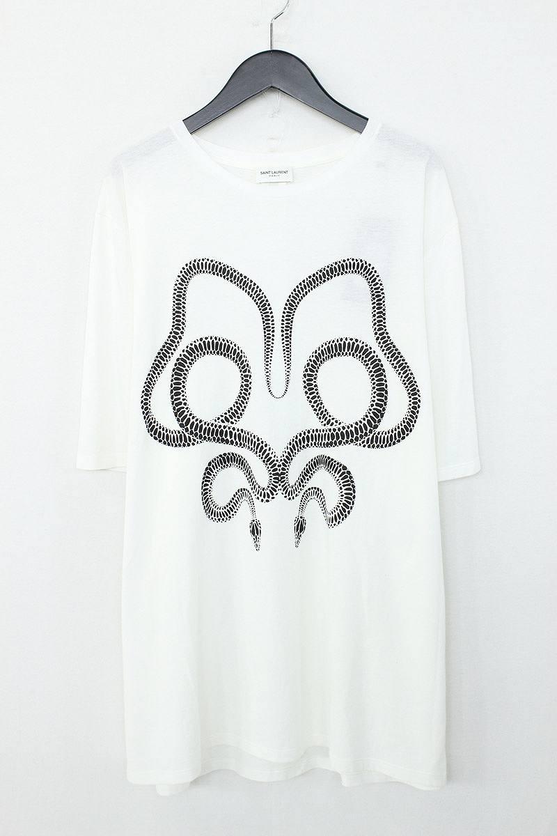 サンローランパリ/SAINT LAURENT PARIS 【17SS】スネークプリントTシャツ(M/ホワイト×ブラック)【SB01】【メンズ】【516081】【imp】【新古品】bb20#rinkan*N