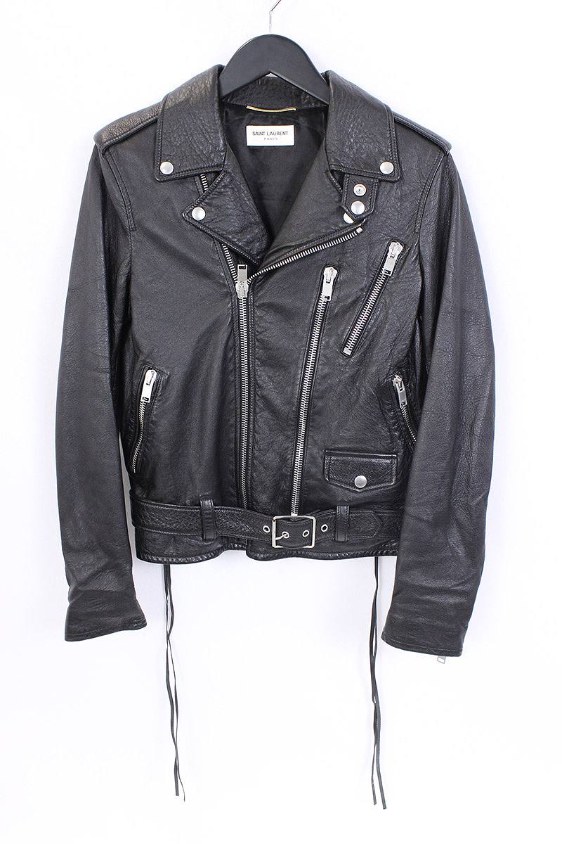 f5242dbc4f7 ... /SAINT LAURENT PARIS. [17SS] [BLOOD LUSTER L17] a back bijou lip  leather riders jacket