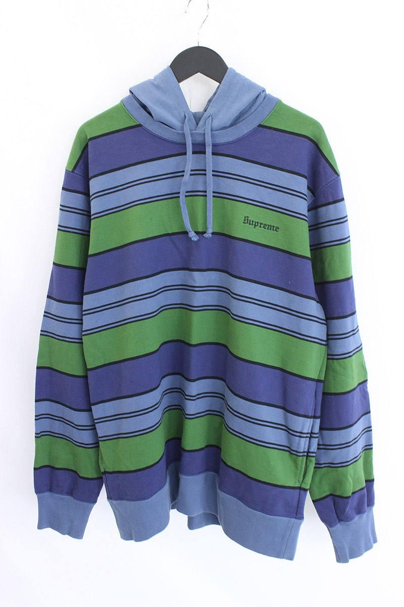 シュプリーム/SUPREME 【17SS】【Striped Hooded Crewneck】胸ロゴステッチボーダー総柄パーカー(XL/ブルー×グリーン)【OM10】【メンズ】【817071】【中古】【P】bb143#rinkan*B