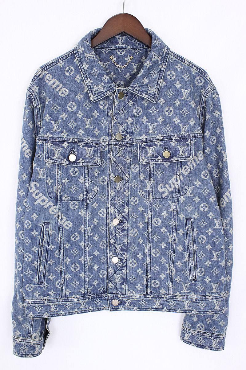 X Louis Vuitton 17aw Lv Jacquard Denim Trucker Jacket