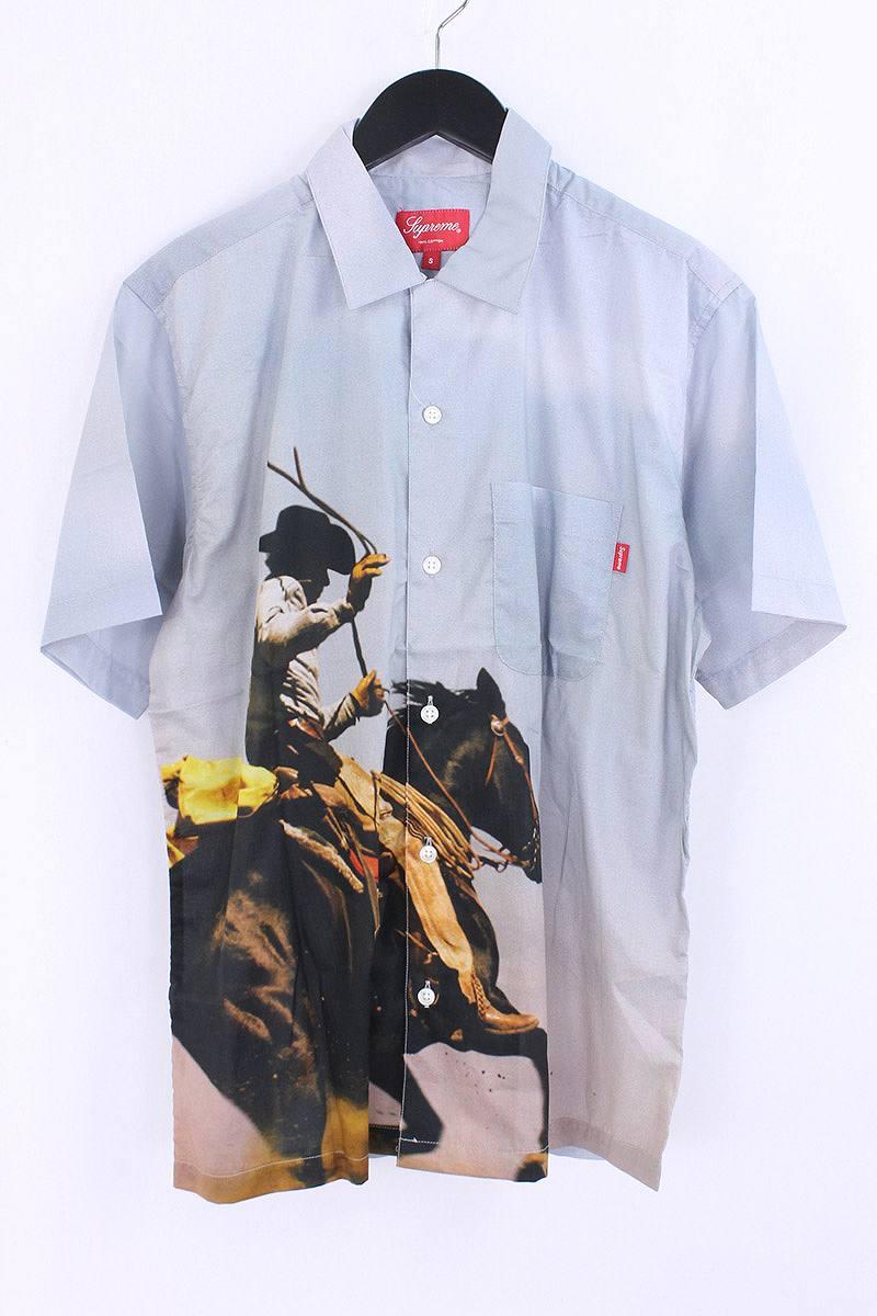 シュプリーム/SUPREME 【17SS】【Cowboy Shirt】カウボーイプリント半袖シャツ(S/ブルー調)【HJ12】【メンズ】【016081】【中古】【P】bb127#rinkan*S