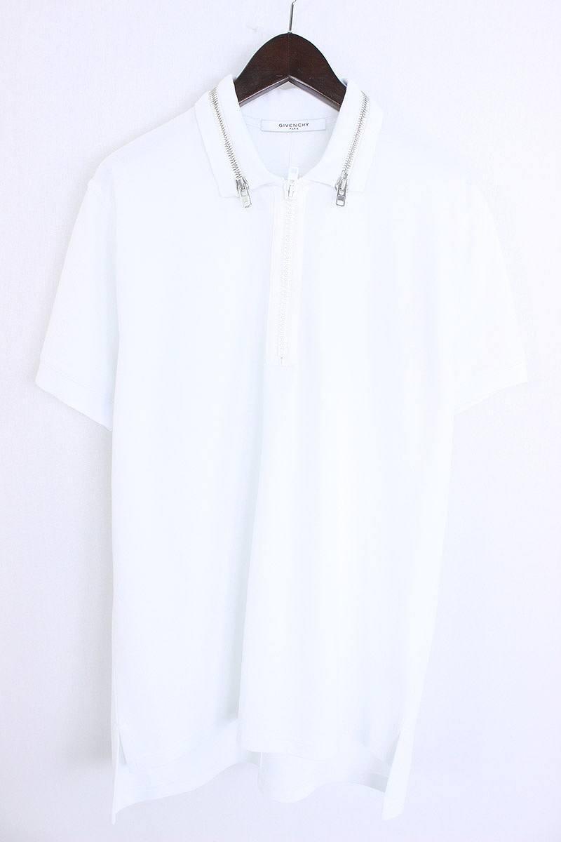 ジバンシィ/GIVENCHY 【17SS】襟ジップデザインオーバーサイズ半袖ポロシャツ(XS/ホワイト)【SB01】【メンズ】【516081】【中古】【P】bb135#rinkan*S