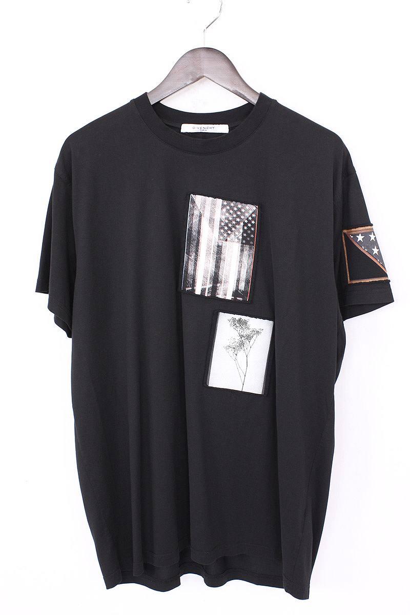 ジバンシィ/GIVENCHY 【16AW】アメリカンフラッグワッペン付きTシャツ(S/ブラック)【OM10】【メンズ】【525081】【中古】【P】[less]bb50#rinkan*A