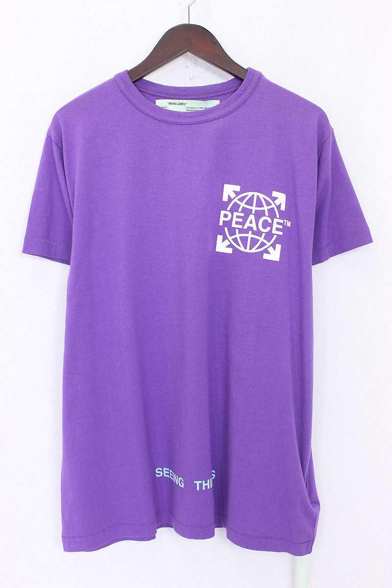 オフホワイト/OFF-WHITE 【17AW】【GLOBE T】PEACEプリントTシャツ(S/パープル×ホワイト)【FK04】【メンズ】【318071】【新古品】[less]bb20#rinkan*N