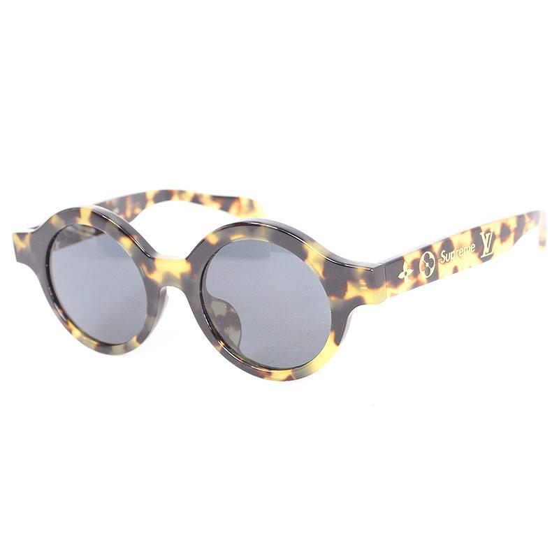 シュプリーム/SUPREME ×ルイヴィトン 【17AW】【LV Downtown sunglasses】×LOUIS VUITTONロゴモチーフサングラス((フレーム)ブラウン調(レンズ)クリアブラック)【SB01】【小物】【618071】【中古】bb14#rinkan*A