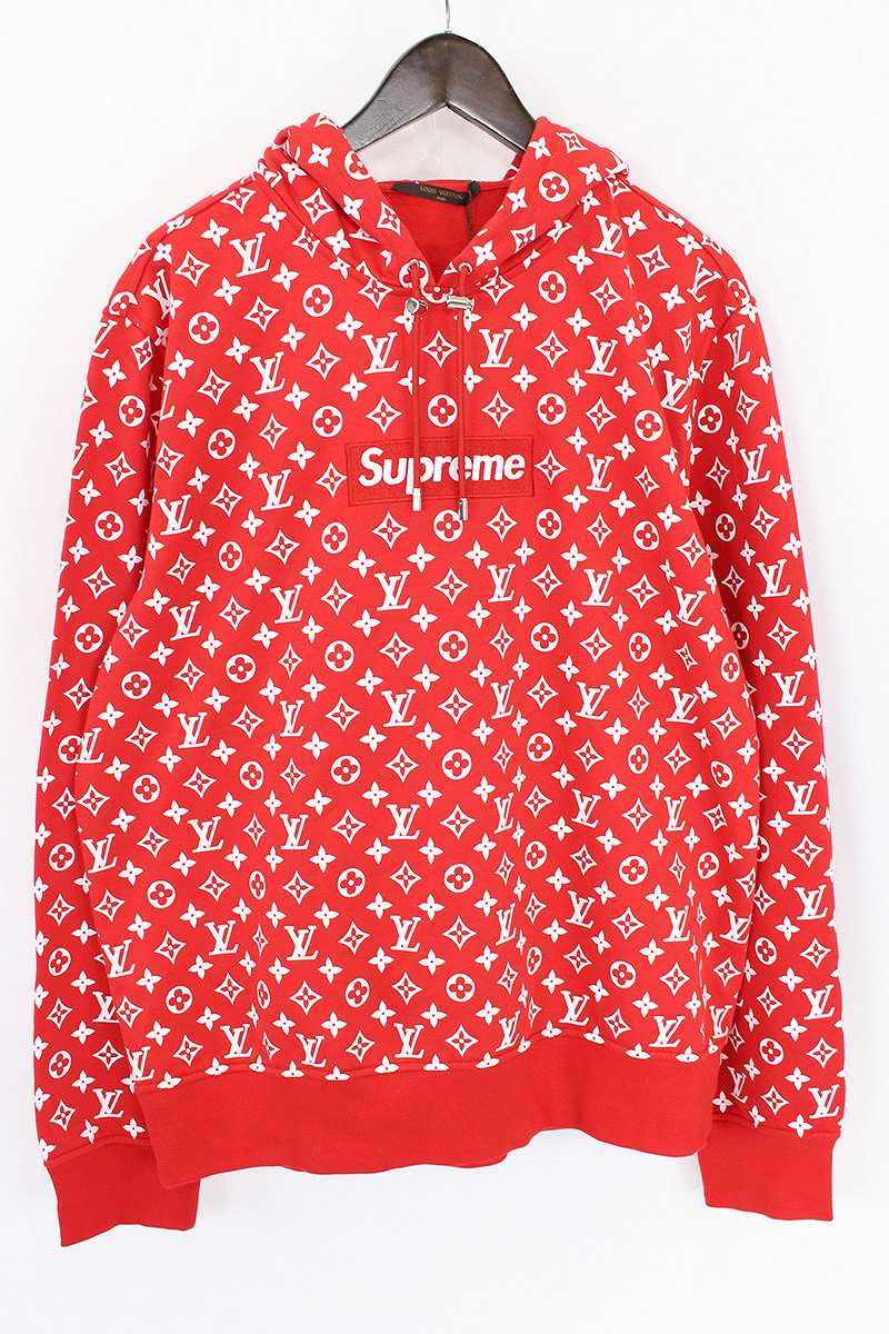 X Louis Vuitton 17aw Lv Box Logo Hooded Sweatshirt Pullover Parka
