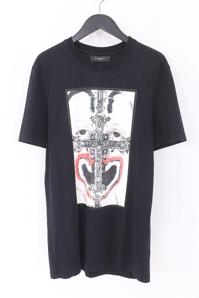 ジバンシィ/GIVENCHY 【11SS】フロントクロスピエロプリントTシャツ(S/ブラック)【SB01】【メンズ】【525081】【中古】【P】bb131#rinkan*B