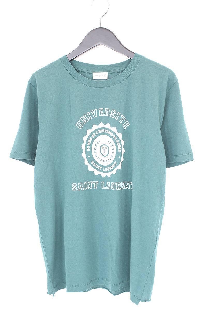 サンローランパリ/SAINT LAURENT PARIS 【17SS】UNIVERSITEカレッジプリントTシャツ(S/グリーン×ホワイト)【SB01】【メンズ】【516081】【中古】bb14#rinkan*A