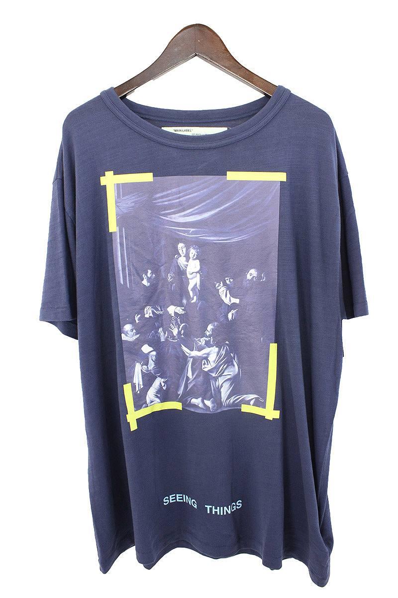 オフホワイト/OFF-WHITE 【17AW】【CARAVAGGIO TEE SS】バックバイアスカラヴァッジオプリントTシャツ(M/ネイビー)【SB01】【メンズ】【525081】【新古品】bb20#rinkan*N