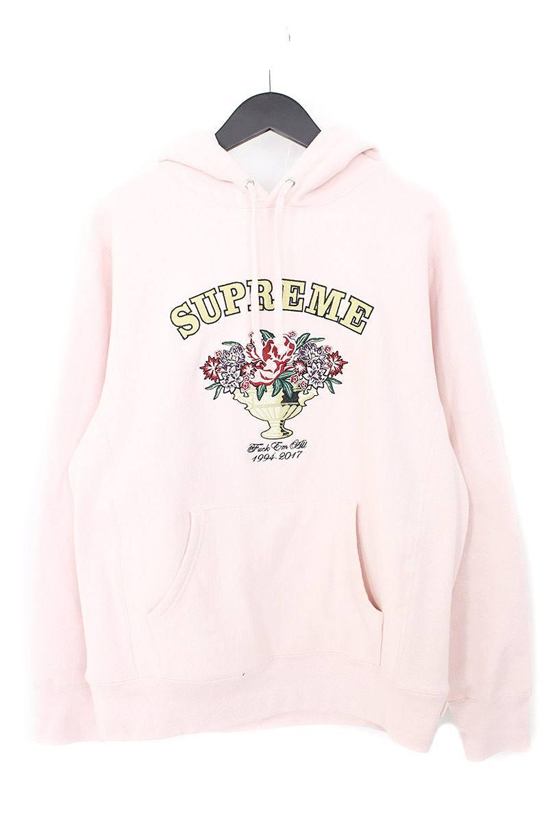 シュプリーム/SUPREME 【17AW】【Centerpiece Hooded Sweatshirt】フラワーアーチロゴ刺繍パーカー(M/ピンク)【NO05】【メンズ】【110171】【中古】【P】[5倍]bb154#rinkan*B