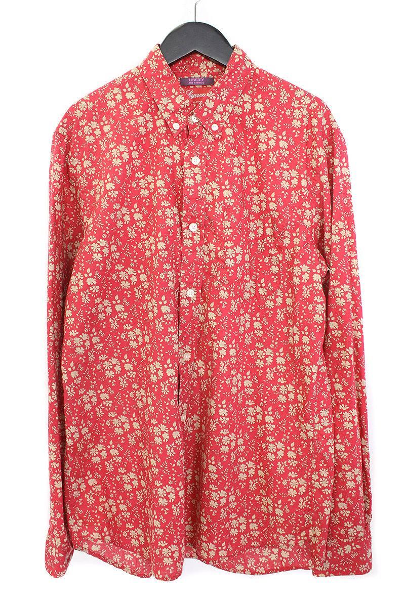 シュプリーム/SUPREME 【11SS】【Liberty Print Shirt】フラワー花柄ボタンダウンシャツ(M/レッド×ベージュ)【OM10】【メンズ】【310171】【中古】【P】bb10#rinkan*B