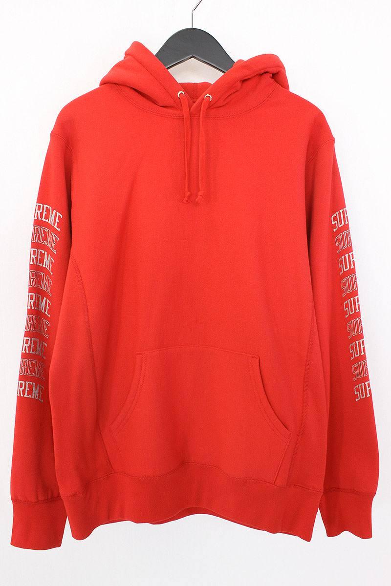 シュプリーム/SUPREME 【17SS】【Sleeve Arc Hooded Sweatshirt】スリーブロゴプリントパーカー(M/レッド)【NO05】【メンズ】【310171】【中古】【P】[5倍]bb24#rinkan*B