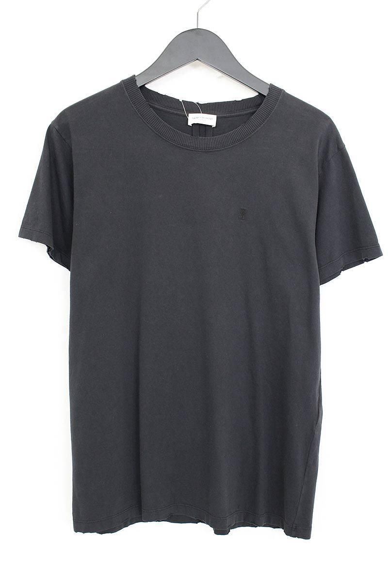 サンローランパリ/SAINT LAURENT PARIS ワンポイントロゴ刺繍Tシャツ(S/ブラック)【SB01】【メンズ】【324081】【中古】【P】bb15#rinkan*A
