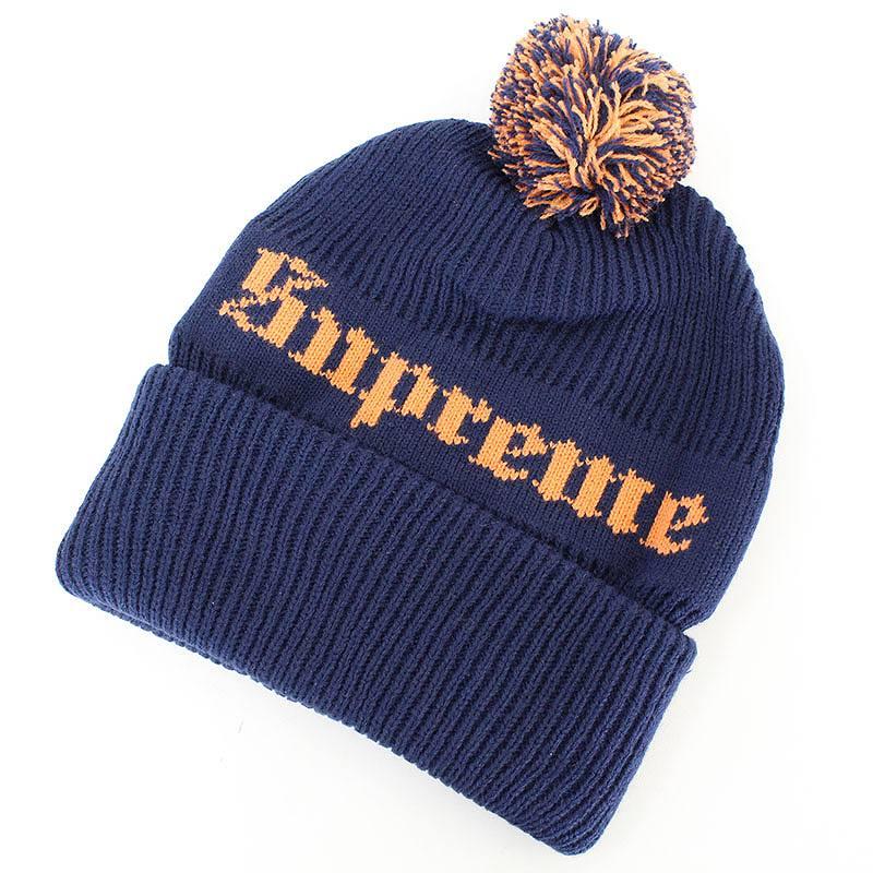 シュプリーム/SUPREME 【16AW】【Old English Beanie】ボンボン装飾オールドイングリッシュニット帽(ネイビー)【SB01】【小物】【402171】【中古】【P】bb177#rinkan*A