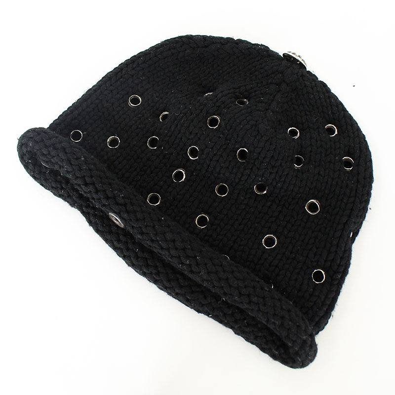 クロムハーツ/Chrome Hearts グロメットデザインクロスボールカシミア帽子(ブラック×シルバー)【SS07】【小物】【702171】【中古】【P】bb82#rinkan*B