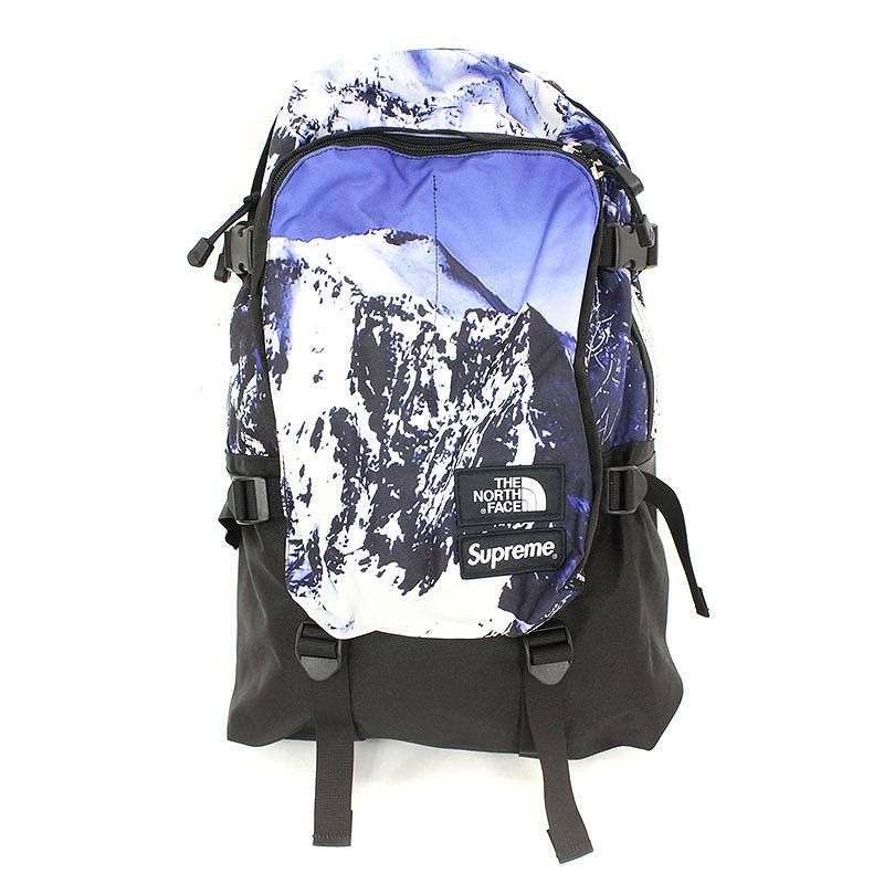 シュプリーム/SUPREME ×ノースフェイス 【17AW】【week15/The North Mountain Expedition Backpack】マウンテン総柄バックパック(ブルー)【NO05】【小物】【012171】【中古】bb152#rinkan*S