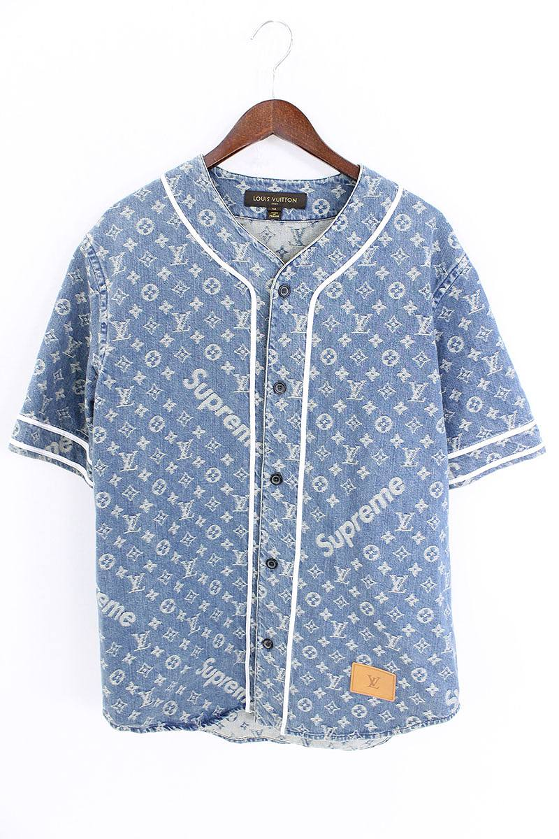 829f981e89b X Louis Vuitton  17AW   LV Jacquard Denim Baseball Jersey  X LOUIS VUITTON  denim baseball short sleeves shirt