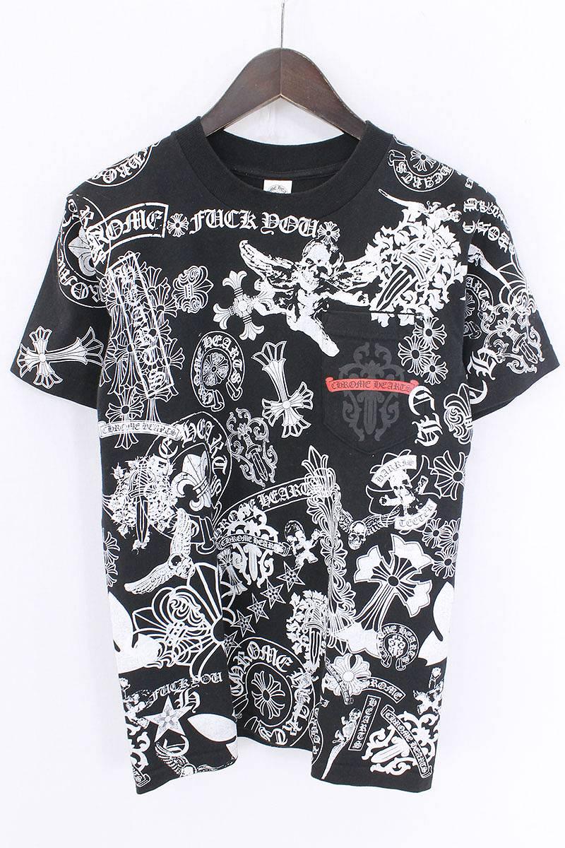 クロムハーツ/Chrome Hearts アソートリミテッド総柄ポケットTシャツ(S/ブラック)【SS07】【メンズ】【324081】【中古】【P】bb169#rinkan*B