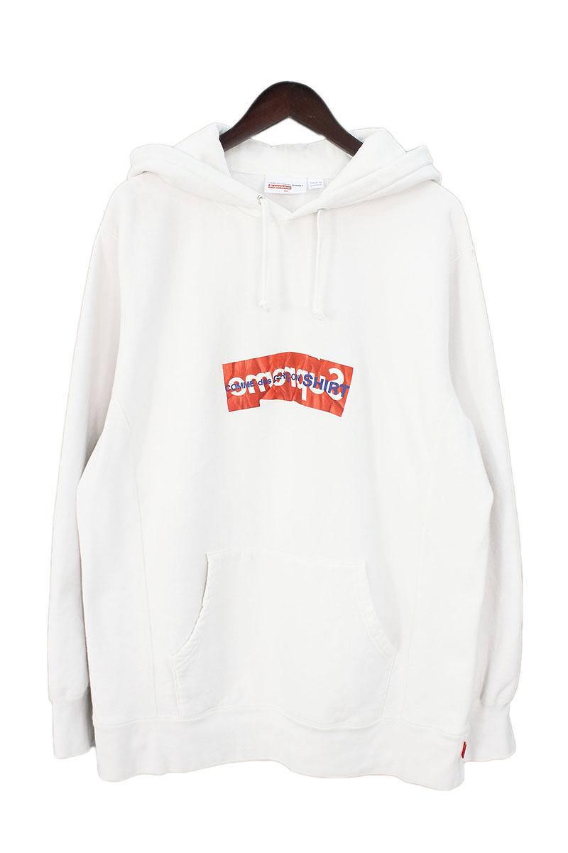 シュプリーム/SUPREME ×コムデギャルソンシャツ/COMME des GARCONS SHIRT 【17SS】【Box Logo Hooded Sweatshirt】ペーパーアートボックスロゴプルオーバーパーカー(XL/ホワイト)【OM10】【メンズ】【503081】【中古】bb131#rinkan*A