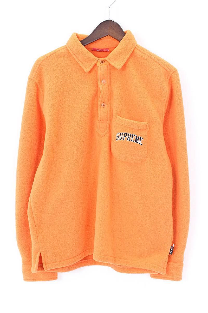シュプリーム/SUPREME 【17AW】【Polartec Pullover Shirt】ハーフボタンフリース長袖シャツ(M/オレンジ)【OM10】【メンズ】【029081】【中古】[WI]bb131#rinkan*A