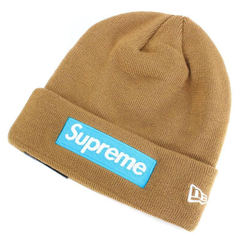 シュプリーム/SUPREME ×ニューエラ 【17AW】【New Era Box Logo Beanie】ボックスロゴビーニーニット帽(ブラウン)【SB01】【小物】【411081】【中古】【P】[zitem]bb127#rinkan*S