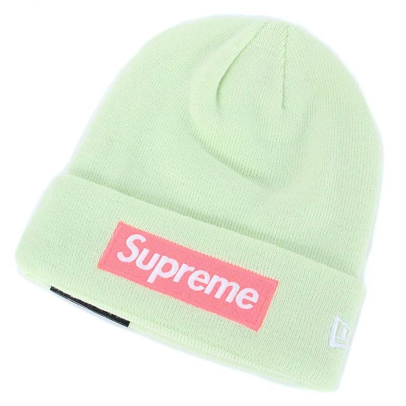 シュプリーム/SUPREME ×ニューエラ 【17AW】【New Era Box Logo Beanie】ボックスロゴビーニーニット帽(ライトイエロー)【HJ12】【小物】【521081】【中古】bb81#rinkan*S