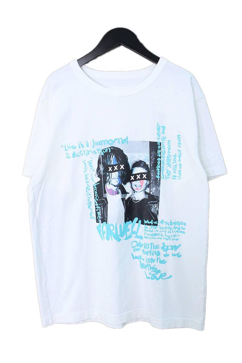 ゴッドセレクショントリプルエックス/GOD SELECTION XXX 【17AW】【GX-A17-1101-068】フォトプリント英字デザインTシャツ(L/ホワイト×ライトブルー)【SK03】【メンズ】【721081】【中古】bb94#rinkan*S