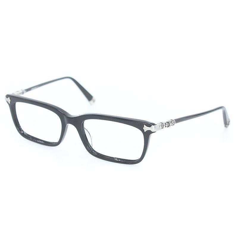 クロムハーツ/Chrome Hearts 【FUN HATCH】サイドクロスモチーフアイウェア黒縁眼鏡((フレーム)ブラック×シルバー)【SS07】【小物】【131081】【中古】【P】bb17#rinkan*C
