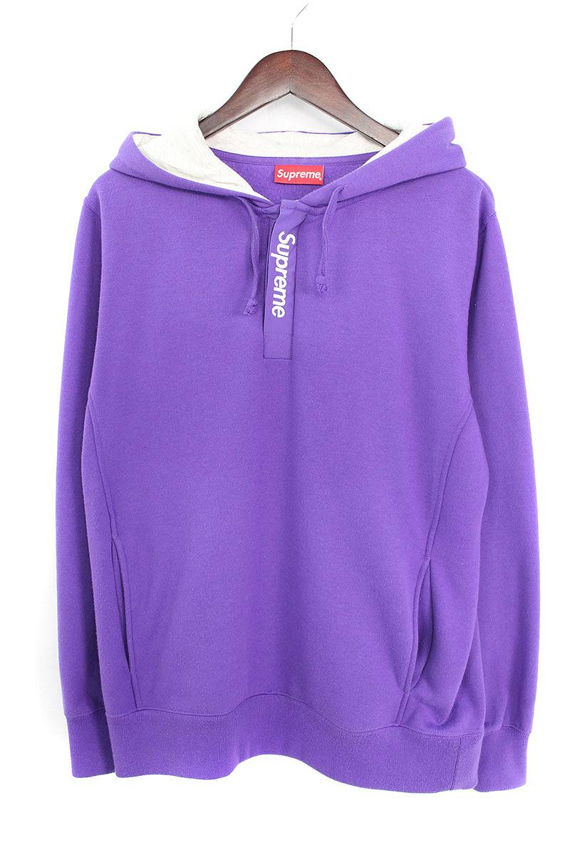 シュプリーム/SUPREME 【16SS】【Contrast Placket Hooded Sweatshirt】コントラストロゴプルオーバーパーカー(M/パープル×グレー)【OM10】【メンズ】【503081】【中古】bb127#rinkan*B