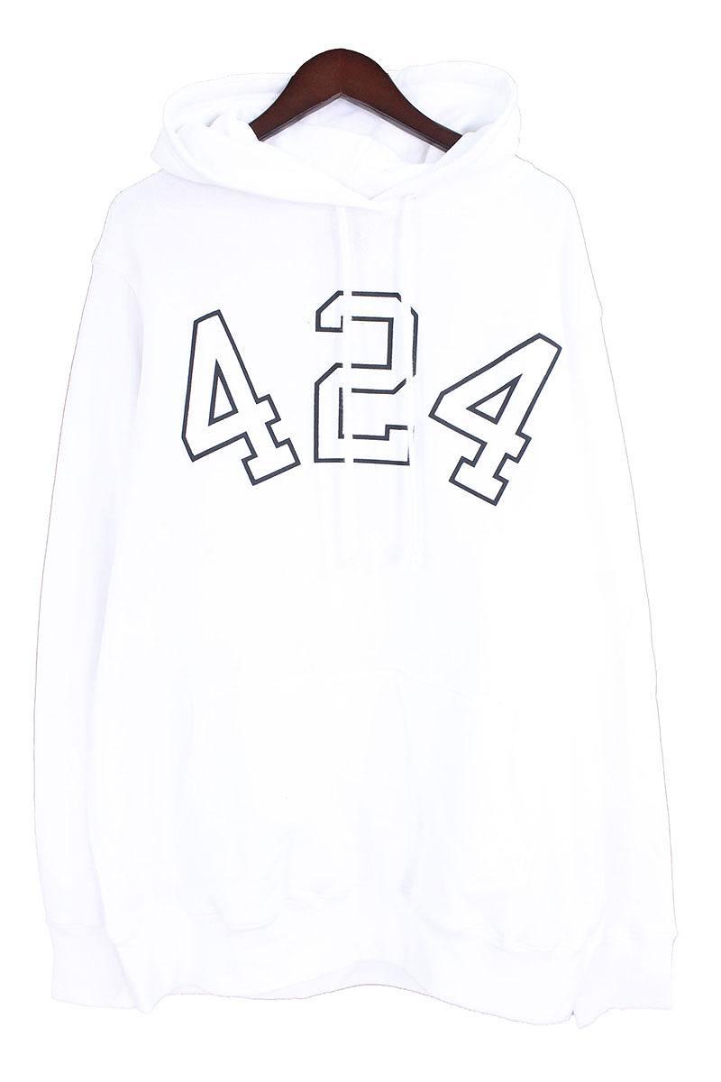 フォートゥーフォー/424 2016 ロゴプリントプルオーバーパーカー(XL/ホワイト×ブラック)【FK04】【メンズ】【503081】【中古】【P】bb15#rinkan*B