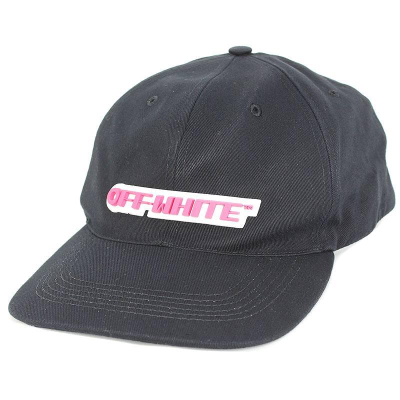 オフホワイト/OFF-WHITE 【18SS】【TEMPERATURE CAP】ラバーロゴパッチキャップ(O/S/ブラック×ピンク)【FK04】【小物】【503081】【新古品】bb20#rinkan*N