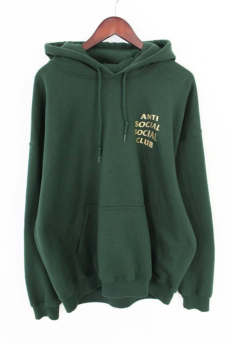 アンチソーシャルソーシャルクラブ/ANTI SOCIAL SOCIAL CLUB 【17SS】【Redeemed Hoodie】バックロゴプリントプルオーバーパーカー(XL/グリーン×ゴールド)【NO05】【メンズ】【324081】【中古】【P】bb143#rinkan*B