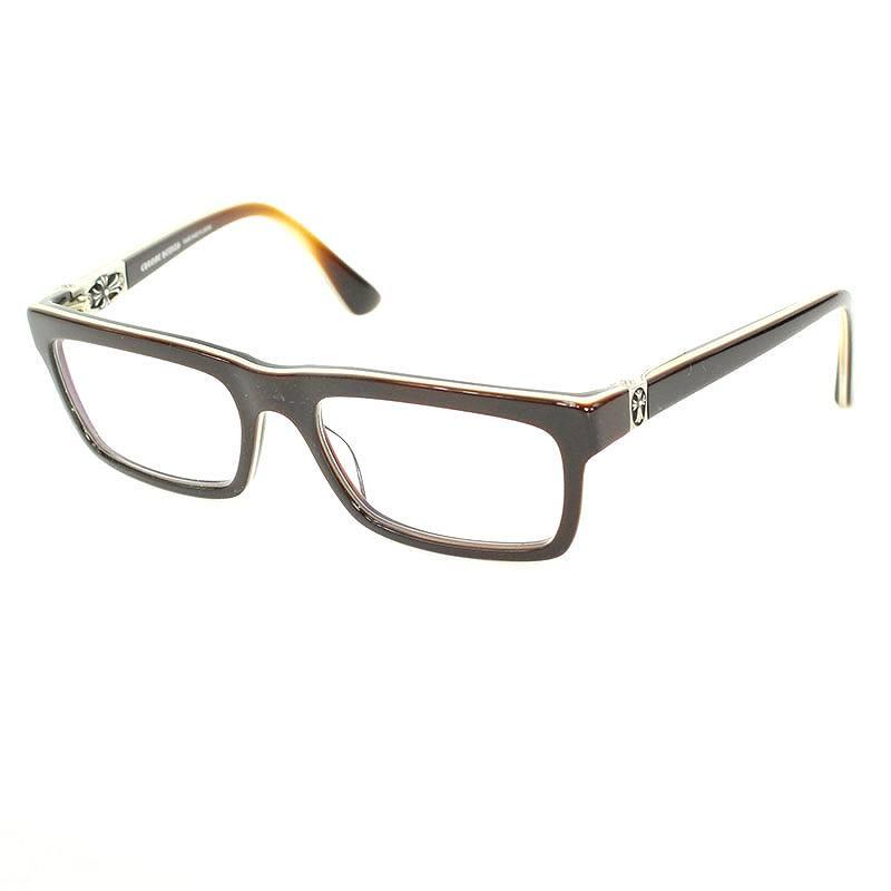 クロムハーツ/Chrome Hearts 【PENETRANUS】サイドクロスモチーフグラデーションフレーム眼鏡(55□19/(フレーム)ブラウン×ベージュ×シルバー(レンズ)クリア)【OS06】【小物】【522081】【中古】【P】bb82#rinkan*B