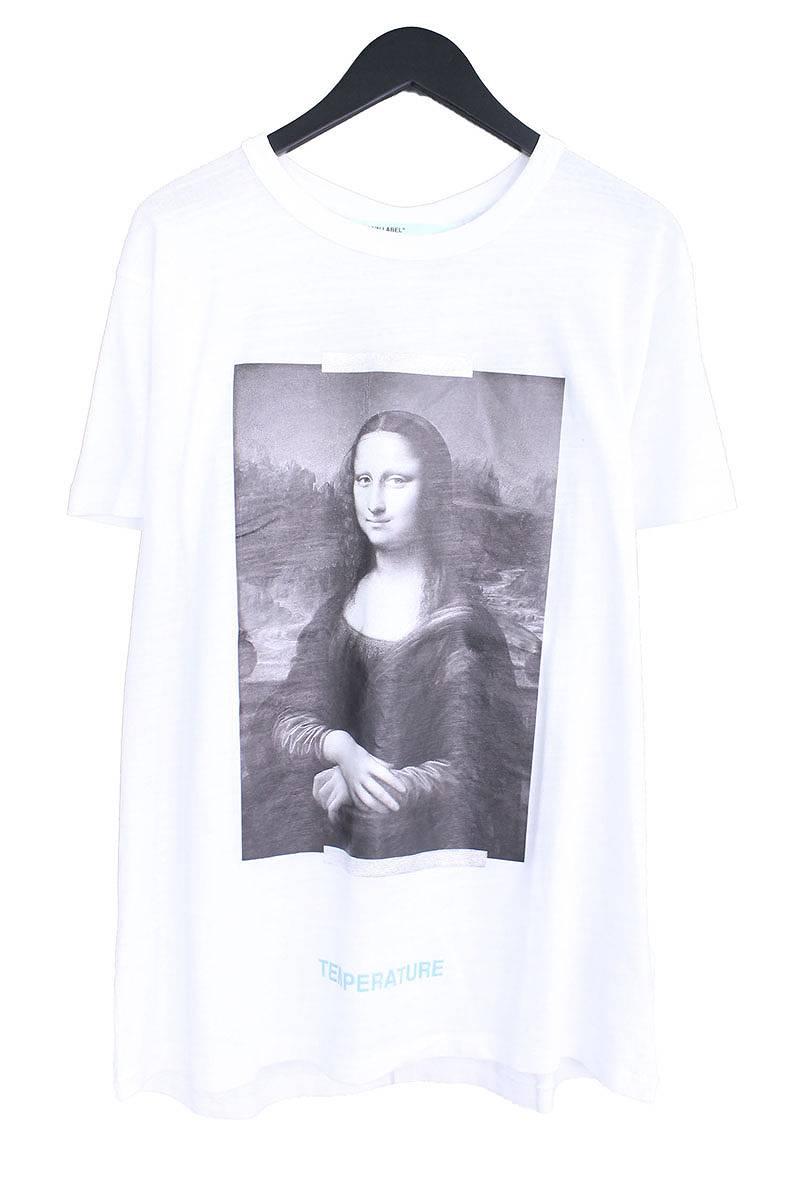 オフホワイト/OFF-WHITE 【18SS】【MONALIZA】モナリザプリントオーバーサイズTシャツ(L/ホワイト×ブラック)【OS06】【メンズ】【403081】【新古品】bb20#rinkan*N