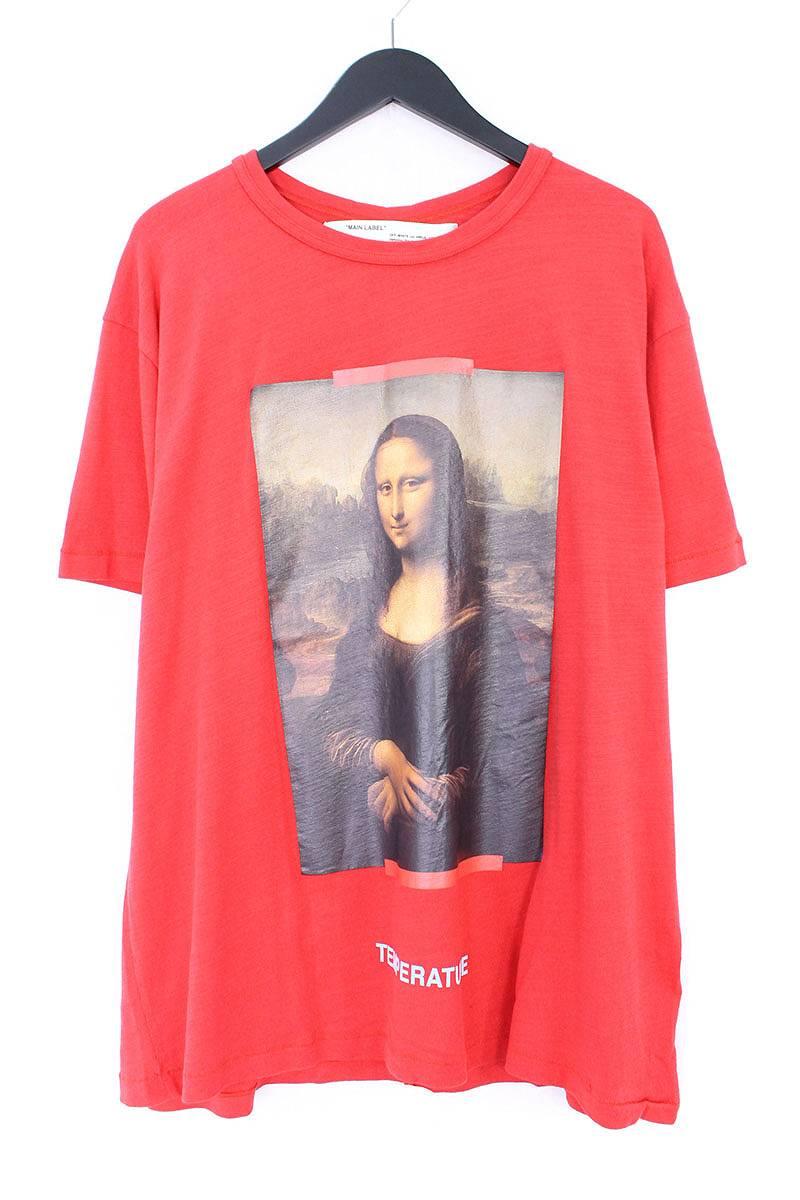 オフホワイト/OFF-WHITE 【18SS】【MONALIZA】モナリザプリントオーバーサイズTシャツ(L/レッド)【OS06】【メンズ】【403081】【新古品】bb20#rinkan*N