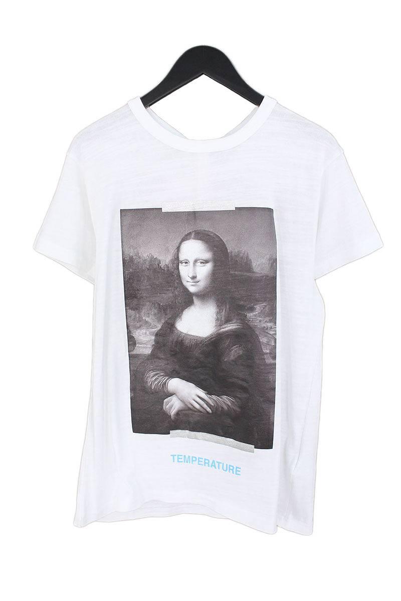 オフホワイト/OFF-WHITE 【18SS】【MONALIZA】モナリザプリントスリムフィットTシャツ(XL/ホワイト×ブラック)【OS06】【メンズ】【403081】【新古品】bb20#rinkan*N