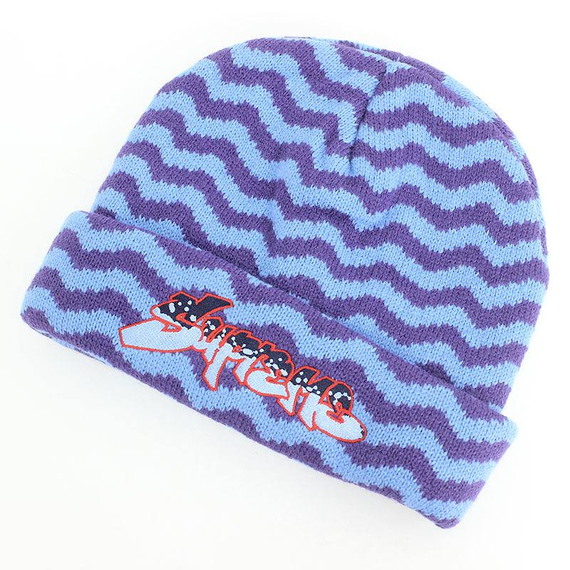 シュプリーム/SUPREME 【17AW】【Zig Zag Stripe Beanie】ジグザグストライプ総柄ビーニーニット帽(ライトブルー×パープル)【OM10】【小物】【013081】【中古】【P】bb152#rinkan*S