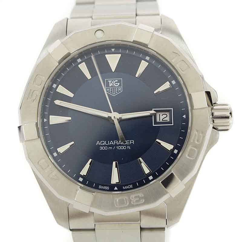 タグホイヤー/TAGHeuer 【WAY1112.BA0928/アクアレーサー】青文字盤腕時計(シルバー)【BS99】【小物】【105081】【中古】bb33#rinkan*A