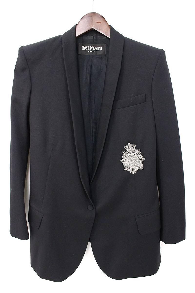 バルマン/BALMAIN エンブレム装飾パワーショルダージャケット(36/ブラック)【BS99】【レディース】【105081】【中古】bb15#rinkan*B