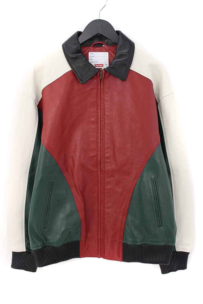 シュプリーム/SUPREME 【18SS】【Studded Arc Logo Leather Jacket】スタッズアーチロゴレザージャケット(L/レッド×グリーン×ホワイト)【OM10】【メンズ】【714081】【中古】【P】bb154#rinkan*S
