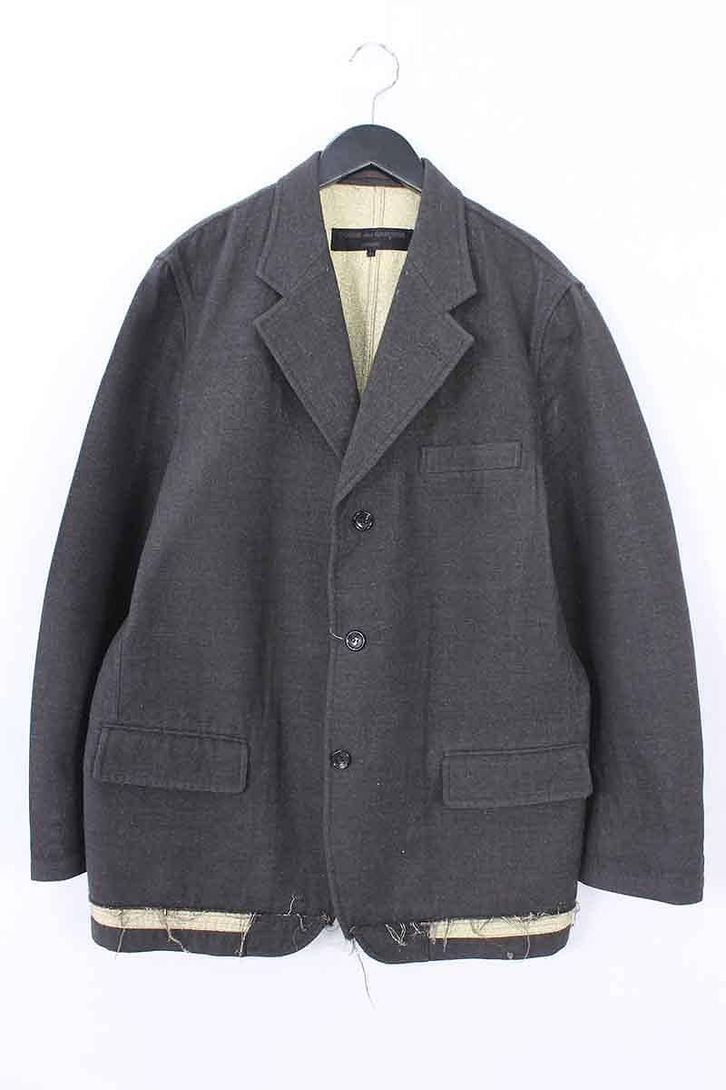 コムデギャルソンオム/COMME des GARCONS HOMME AD2002金糸デザインテーラードジャケット(L/ブラウン×ゴールド)【BS99】【メンズ】【105081】【中古】bb92#rinkan*B
