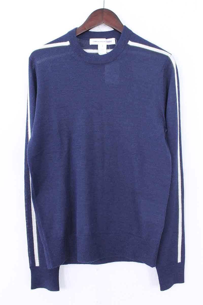 コムデギャルソンシャツ/COMME des GARCONS SHIRT 【17AW】【W25605】ウールクルーネックニット(S/ネイビー×ホワイト)【BS99】【レディース】【105081】【中古】bb202#rinkan*A